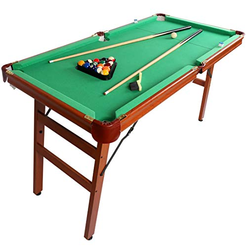 Billiard Table,55 Inch Folding Pool Table Space Saving Billiard Table Game for Kids and Adults