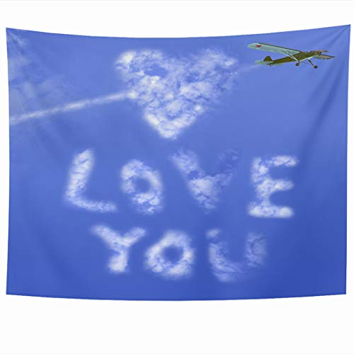 Ahawoso Tapestry 90x60 Inch Blue Writing Text Love You Message Sky Holidays Airplane Aviation Dating Cloud Color Heart Romance Valentine Tapestries Wall Hanging Home Decor Living Room Bedroom Dorm (Best Flirting Text Messages)