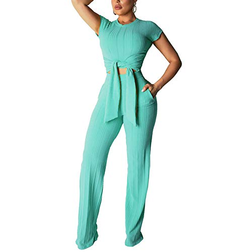 (Sprifloral Casual Club Outfits Bell Bottoms Bow Tie T Shirt Jumpsuits Rompers Mint Green)