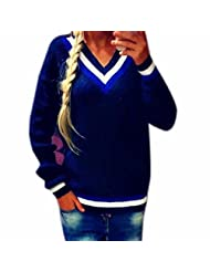 Lady Simple Preppy Style Loose Knitting Sweater Deep V-neck Winter/Fall