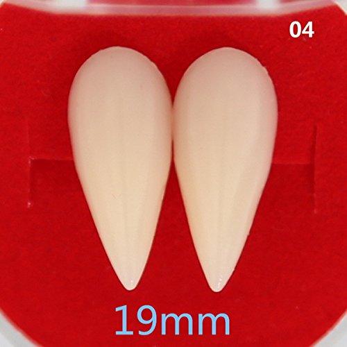 Corcrest - 4 Styles Horrific Fun Clown Dress Vampire Teeth Halloween Party Dentures Props Zombie Devil Fangs Tooth with Dental Gum [19mm]]()