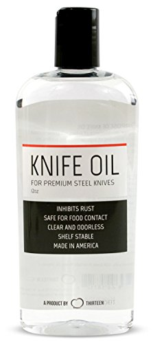 - Thirteen Chefs Knife and Honing Oil 12oz - Food Safe, Protects Carbon Steel Knives, Sharpening Stone Ready, Made for Chefs