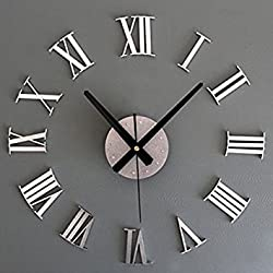 Kicode Vintage Roman Numeral Number Living Home Decoration Frameless Wall Clock 3D DIY Adhesive Silver Metal Chic