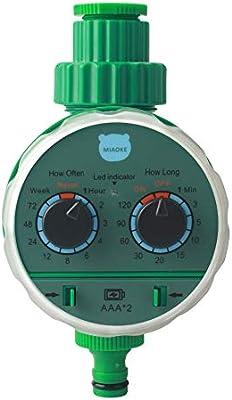 MIAOKE Reloj de Riego, Programador de Riego para Jardín, Temporizador de Agua con riego programado con Cubierta Protectora impermeabl: Amazon.es: Jardín