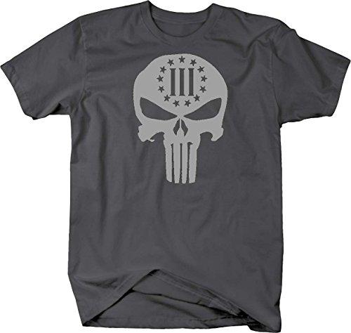 Stealth - Punisher Skull 3% NRA Biker Stars and Stripes T shirt - 6XL -