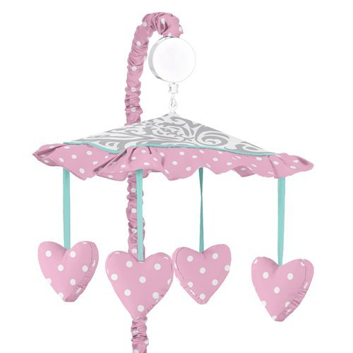 Skylar Gray Damask and Pink Polka Dot Girls Musical Baby Crib Mobile