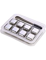 eoocvt Whiskey Stones Luxury Gift Set - Stainless Steel - Reusable Ice Cubes with Barman Tongs and Freezer Tray