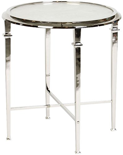 Knox and Harrison Four-Legged Occasional Accent Table with Inset White Granite in Polished Nickel Finish