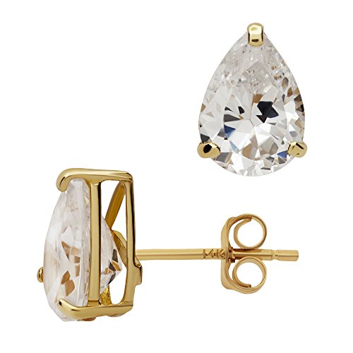 14K Yellow Gold Basket Set Pear-Shaped CZ Cubic-Zirconia Solitaire Stud Earrings 4, 5, 6 MM (7X5 Millimeters)
