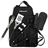Albessel 7 Pieces Professional BBQ Grill Set with Waterproof Apron - Stainless Steel Barbecue Heavy Duty Accessories can be Stored in Apron and Folded into Carrying Bag for Storage