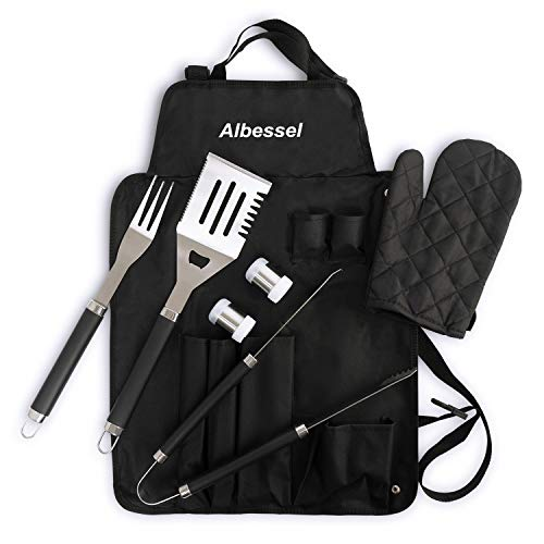 - Albessel 7 Pieces Professional BBQ Grill Set with Waterproof Apron - Stainless Steel Barbecue Heavy Duty Accessories can be Stored in Apron and Folded into Carrying Bag for Storage