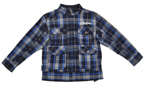 Akademiks Boys Navy Blue & Grey Plaid Flannel Jacket