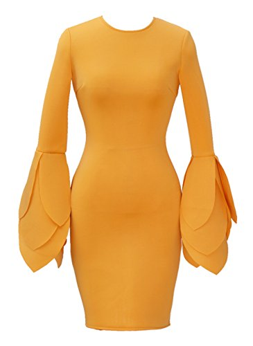 (Bslingerie Ladies Yellow Long Sleeves Peplum Bodycon One Piece Dress (Yellow, M))