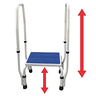 AdjustaStep(tm) DoubleSafe Deluxe Step Stool/Footstool with Dual Handle/Handrail, Height Adjustable. Modern white/blue design. New for 2016