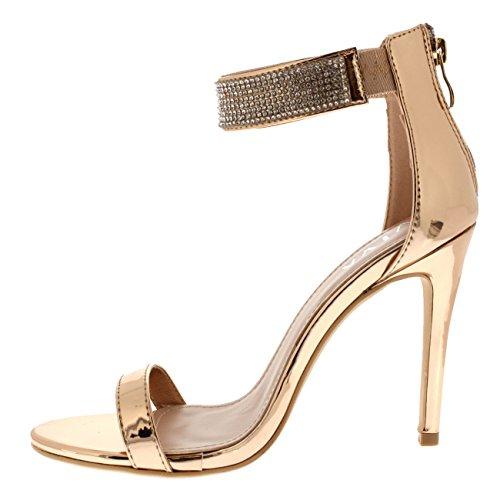 Rosa Tacón Mujer Noche De Viva Correa Boda Oro Diamante Zapatos Alto Tobillo Fiesta 7Cfq7TB