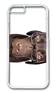 MOKSHOP Adorable Dog with Glasses Hard Case Protective Shell Cell Phone Cover For Apple Iphone 6 Plus (5.5 Inch) - PC Transparent