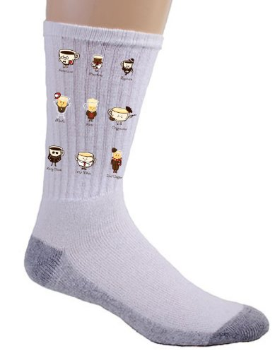 """Coffee Psyche"" Funny Cartoon Coffee Drink Types w/ Expressions - Crew Socks"