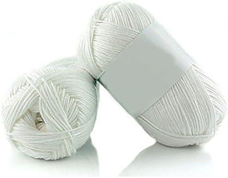 beiguoxia 1 rollo 50 G de lana algodón Crochet de bambú para tejer suave hilo, 1 blanco, talla única: Amazon.es: Hogar