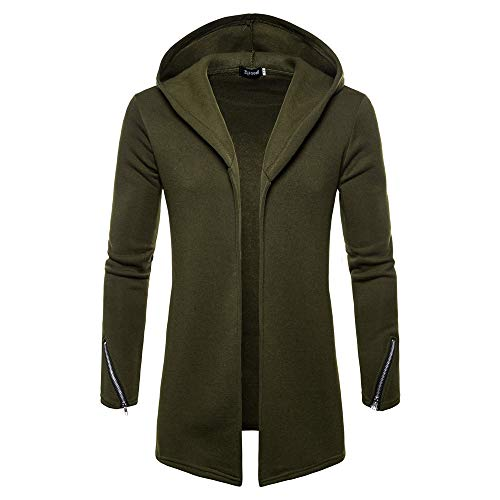 Shearling Mens Car Coat - Clearance Forthery Men's Trench Coat with Hood Winter Long Zipper Jacket Overcoat Cardigan(Green, US Size L = Tag XL)