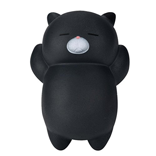 Fidget toy , Livoty Cute Lazy Sleeping Cat Scented Squishy Charm Slow Rising Squeeze Toy Charm (Black) (Garbage Bag Body Halloween)