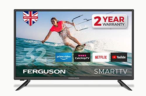 FERGUSON 32″ Smart LED TV Freeview HD, WIFI, 2 x HDMI, USB, 1080I, Netflix, Prime Iplayer ITV Hub all 4 Demand5 YouTube – BRITISH MANUFACTURER – F3220RTS, Black