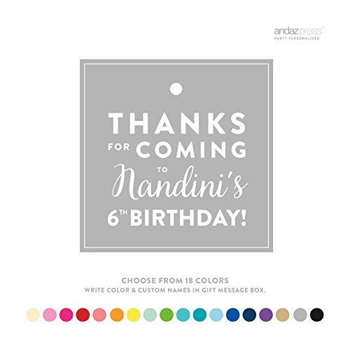 Andaz Press Personalized Square Birthday Gift Tags, Thanks for Coming Block Style, 24-Pack - CUSTOM MADE ANY NAME, COLOR, AGE