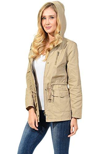 Auliné Collection Womens Military Safari Utility Fashion Hoodie Anorak Jacket Khaki M