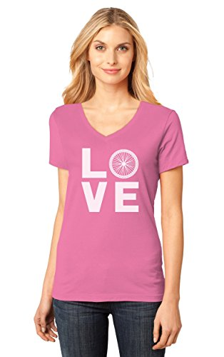 Bike Fitted T-shirt (TeeStars Love Cycling - Bicycle Riders Gift Idea - Bike Lover Women's Fitted V-Neck T-Shirt Medium Pink)