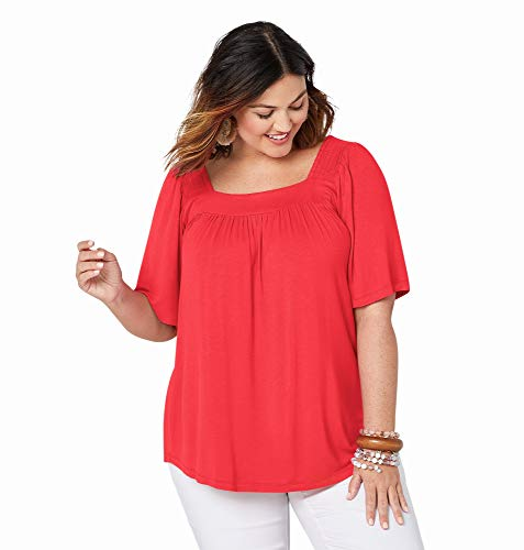 Avenue Women's Solid Color Square Neck Top, 22/24 Tigerlilly (Plus Tops Flutter Sleeve)