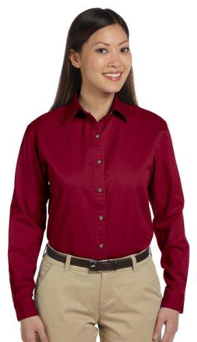 Devon & Jones Women's Long Sleeve Titan Twill Button Down Dress Shirt D500W red Medium Devon And Jones Cotton Dress Shirt
