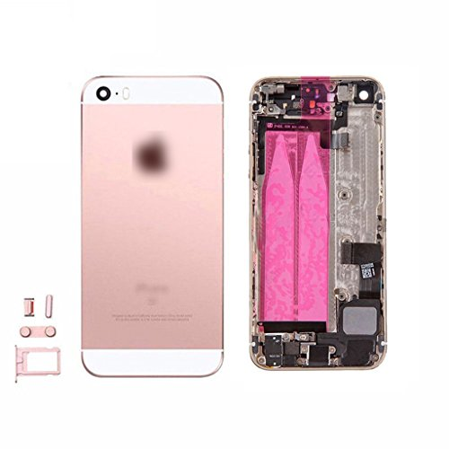 for iPhone SE Full Housing Assembly Rear Housing With logo Back Metal Cover Case Battery Door Complete Full Assembly with Small Parts Replacement (Rose gold)