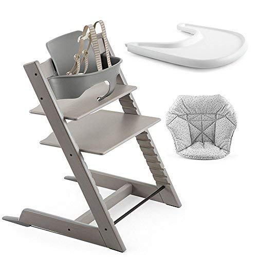 Stokke Tripp Trapp High Chair, Baby Set - Oak Grey Wash/Storm Grey, Tray - White & Cushion - Cloud Sprinkle by Stokke