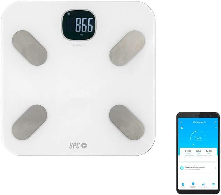SPC Atenea Fit - Báscula de análisis aorporal inteligente Wi-Fi, para usuarios ilimitados (compatible con Amazon Alexa y Google Home) – Color Blanco: Spc: Amazon.es: Electrónica