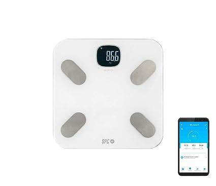 SPC Atenea Fit - Báscula de Análisis Corporal Inteligente Wi-Fi usuarios ilimitados compatible con Amazon Alexa y Google Home, blanco