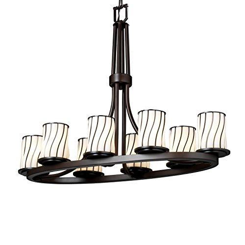 (Justice Design Group Lighting WGL-8751-10-SWOP-DBRZ Dakota Eight Light Oval Ring Chandelier, 27