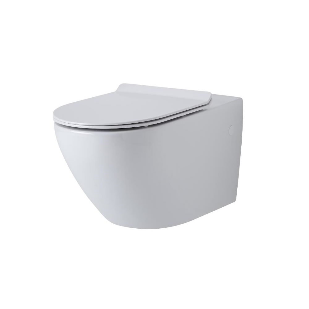 Milano Overton Wall-Hung Toilet - Oval Ceramic One-Piece WC and Soft Close Seat