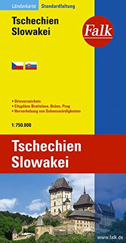 Falk Länderkarte Tschechien / Slowakei 1:750 000 Broschiert – 14. November 2012 Falk Verlag Ostfildern 3827918472 Europa