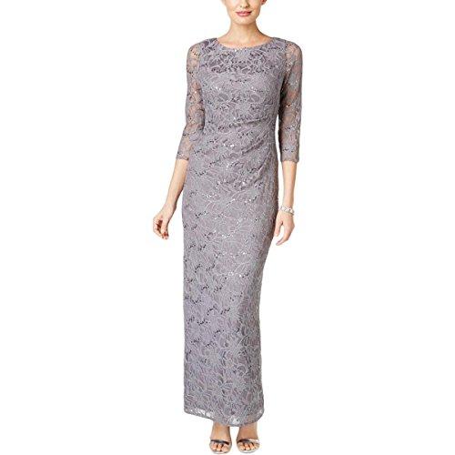 Jessica Howard Evening (Jessica Howard Womens Lace Draped Evening Dress Gray 6)