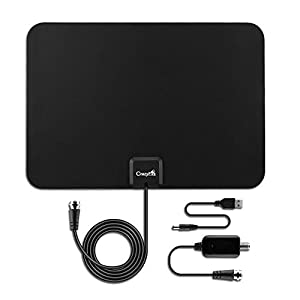 50 Miles Amplified Indoor HDTV Antenna,CrazyFire USB Powered Razor Thin HDTV Indoor Antenna,50 Miles Long Range TV HD Antenna With Amplifier Signal Booster and 10ft Coax Cable