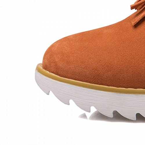 Carol Shoes Women's Fashion Sweet Tassels Flatform Mid-Calf Snow Boots Orange EJNCM