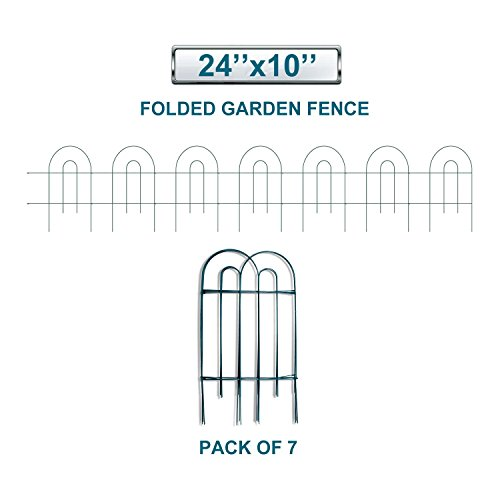 Cheap Coarbor Wire Garden Border Fence Metal Fencing Each Panel Measures 24'' High 10'' Wide Total 7 Panels A Set Perfect for Vegetable Flower Garden Patio Deck Keep Dogs Pets in and out