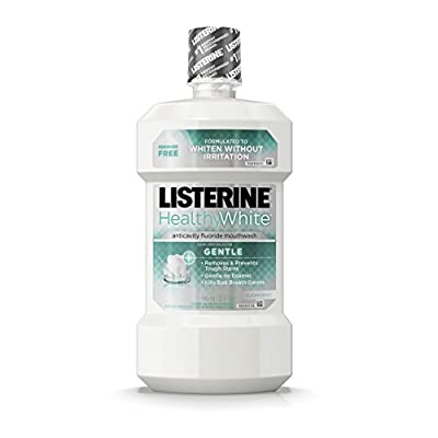 Listerine Healthy White Anticavity Peroxide-Free Fluoride Mouthwash, Gentle Mouth Rinse for Teeth Whitening, Stain Remover and Bad Breath, Clean Mint, 32 fl. oz