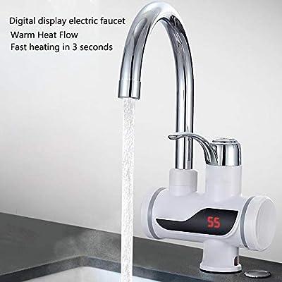 para cocina y ba/ño grifo el/éctrico profesional potencia ajustable Blanco Grifo calentador el/éctrico de agua calentador de agua instant/áneo con pantalla indicadora de temperatura LCD 3000 W Seitenwasser