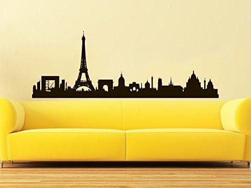 City Wall Decal Vinyl Art graphic Room Office Silhouette Europe Paris Skyline