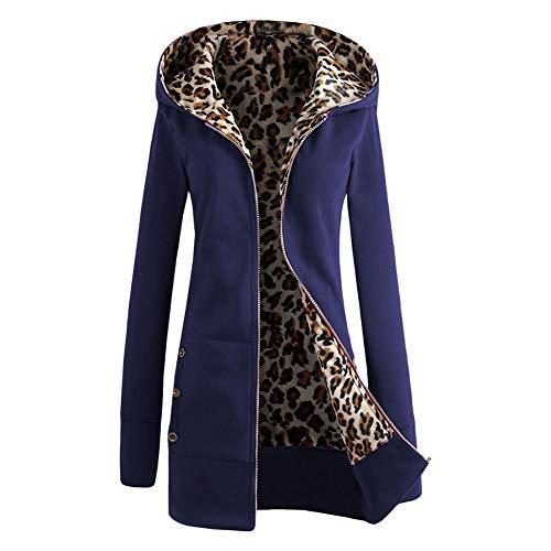 À Capuche Sweat Longues Manteau Jacket Pull Confortable Épais Foncé Hoodie Veste Meijunter Bleu En Manches Femme Coat Léopard 8qYn0
