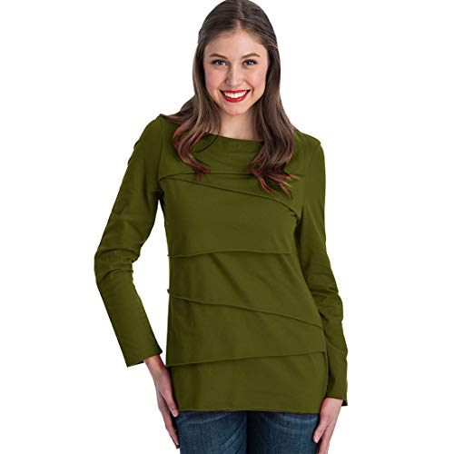 Neon Buddha Women's Loose Fitting Cotton T Shirt Female Long Sleeve Boatneck Top with Assymetric Layers,Green Tea,Medium