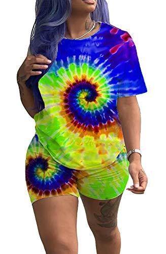 Voghtic Women Fashion Multicolor Circle Print 2 Piece Outfits Loose T Shirt Short Trousers Clubwear Set Tracksuit