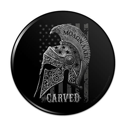 Carved Molon Labe USA American Flag Pinback Button Pin - 1