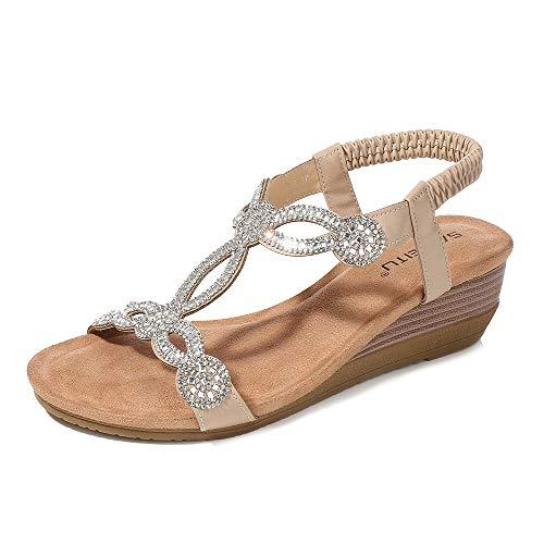 Meeshine Womens Wedge Sandal Platform Rhinestone Dress Sandals Bohemia Shoes Apricot-07 US 9.5 ()