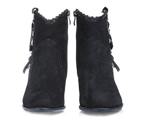 Schwarz Schuhe 37 901 Mandel Wittchen 1 Ferse Farbe D 85 Stiefel Pfahl der Nasenform Art Kollektion Nubukleder 1qEgP
